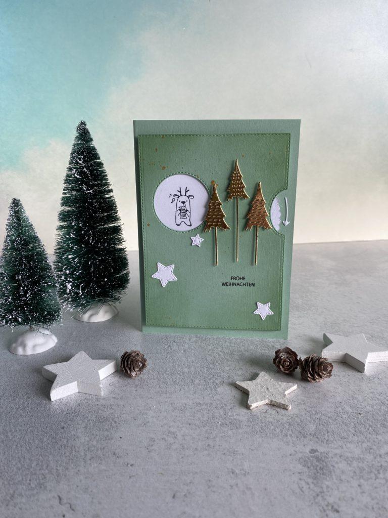 Drehkarte zu Weihnachten mit Stampin Up und Rentieren von Kreativzeitlos